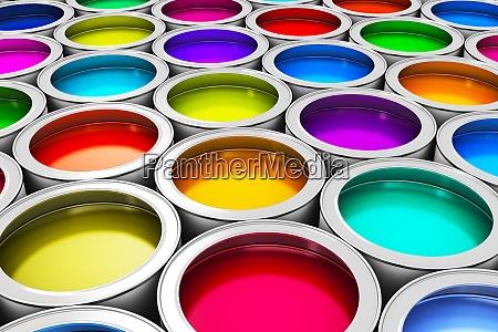 kolorowe puszki z farba