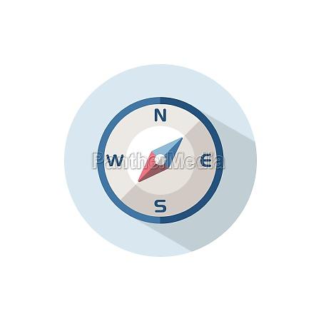 kompas, w, kierunku, południowo-zachodnim., płaska, ikona - 29263546