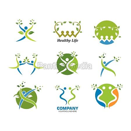 ludzie zdrowego zycia wektor szablonu logo