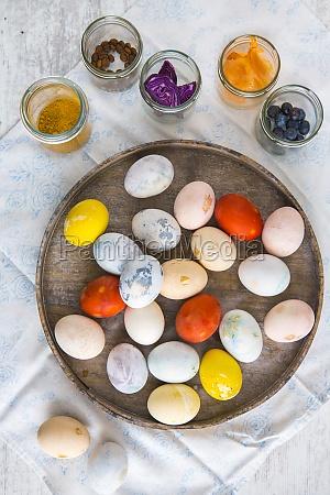 kolorowe, pisanki, na, talerzu - 29890163