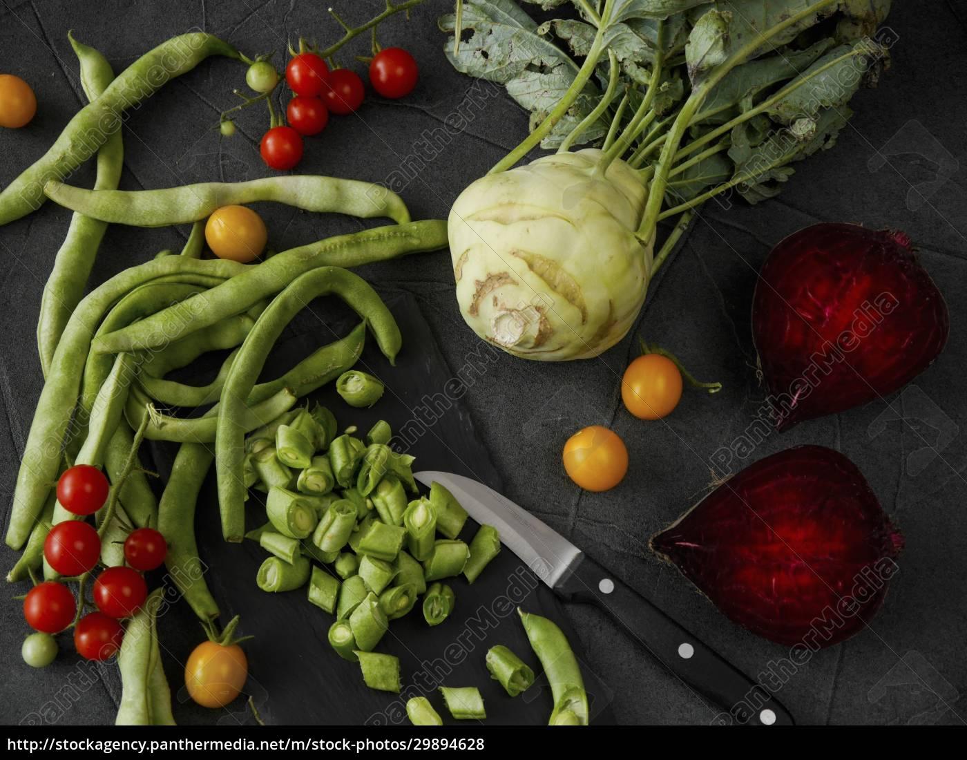 martwa, natura, warzyw, z, fasolą, pomidorami, kalarepa, i - 29894628