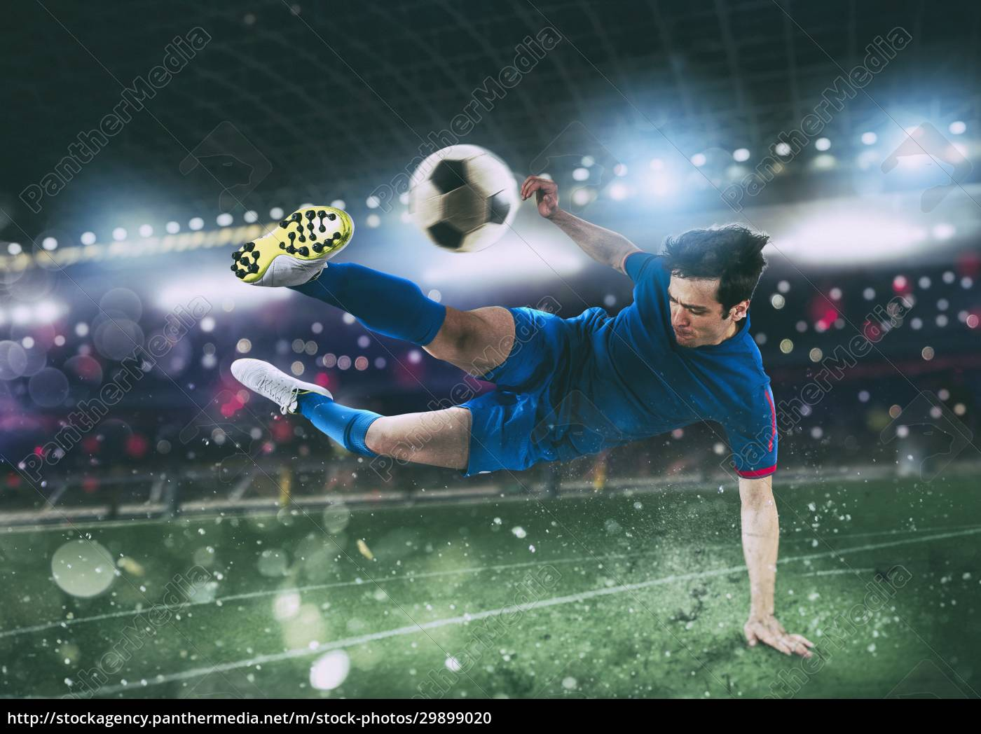 scena, piłki, nożnej, w, nocnym, meczu - 29899020