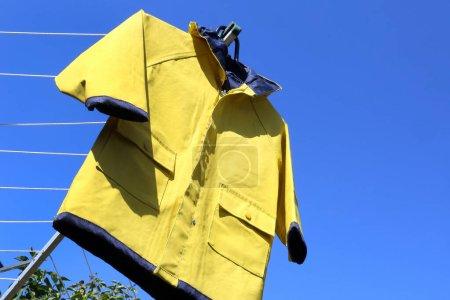 żółte, niebieski, odzież, ochrona, sukienka, kaptur - B359063022