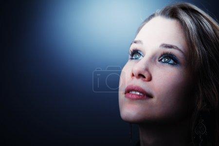 biały, niebieski, tłó, piękne, dzień, zbliżenie - B9981496