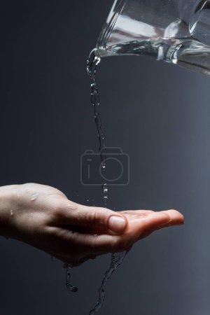 dziewczyna, krople, Płyn, Woda, Ciemność, płynący - B270853420