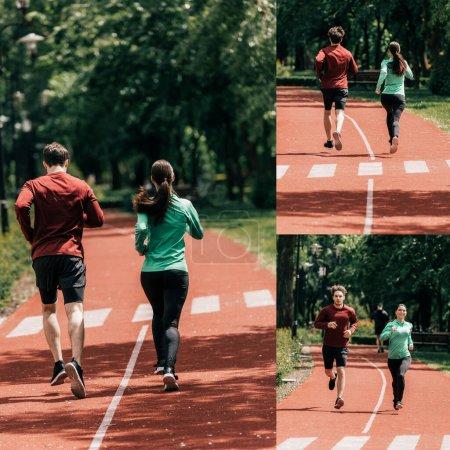 sportowe, działalność, dziewczyna, Uśmiech, parkowych, na zewnątrz - B381818124