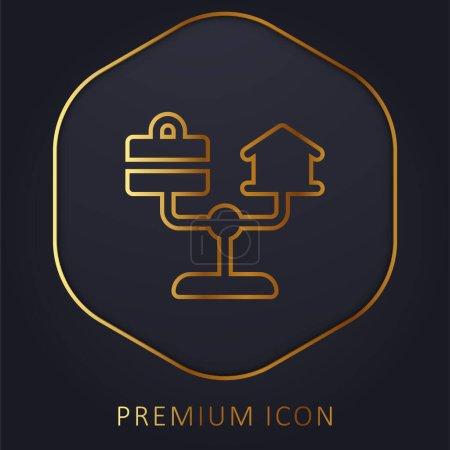 wektor, złoty, linia, ikona, Do domu, styl życia - B471197088